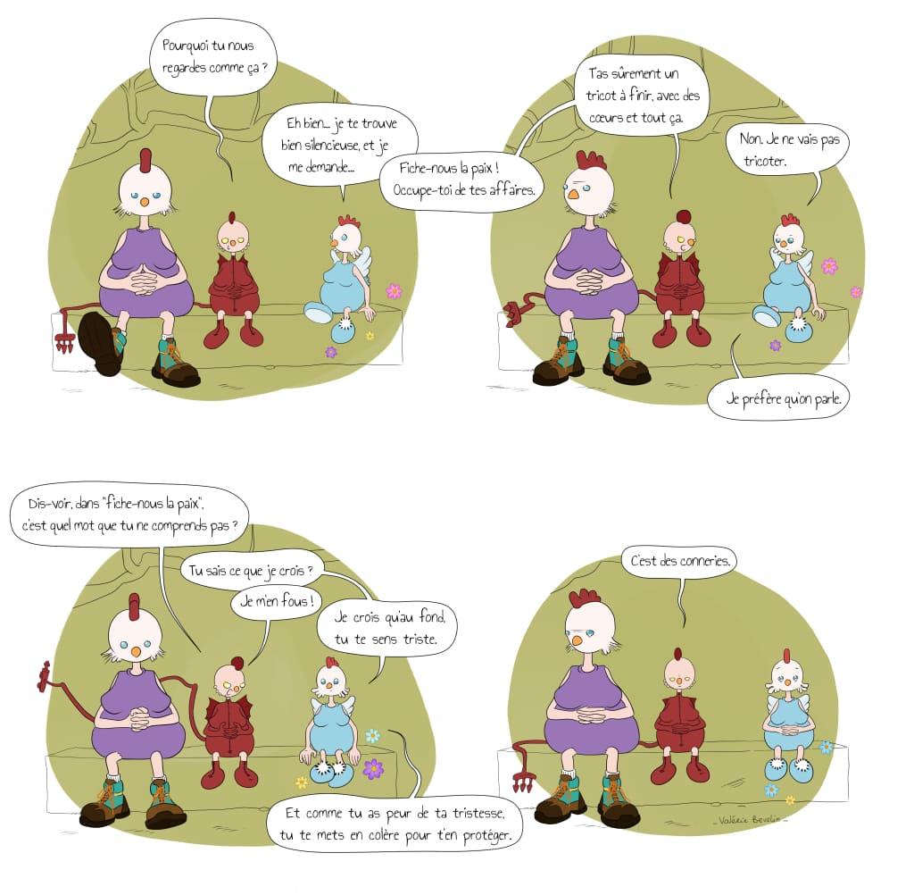 Planche de bande dessinée pleine page de La Poule : compassion