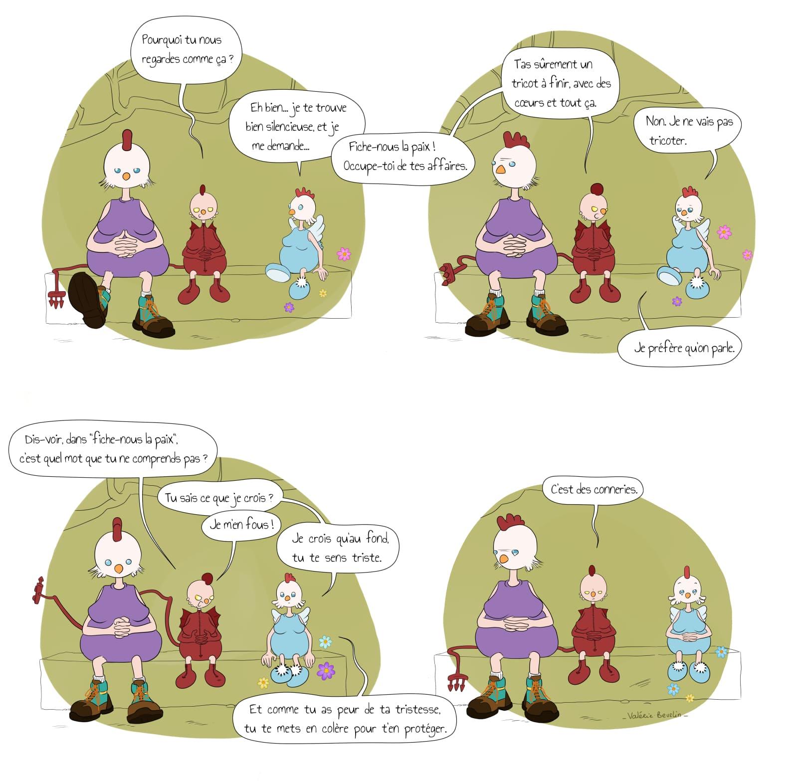 Planche pleine page de La Poule intitulée compassion